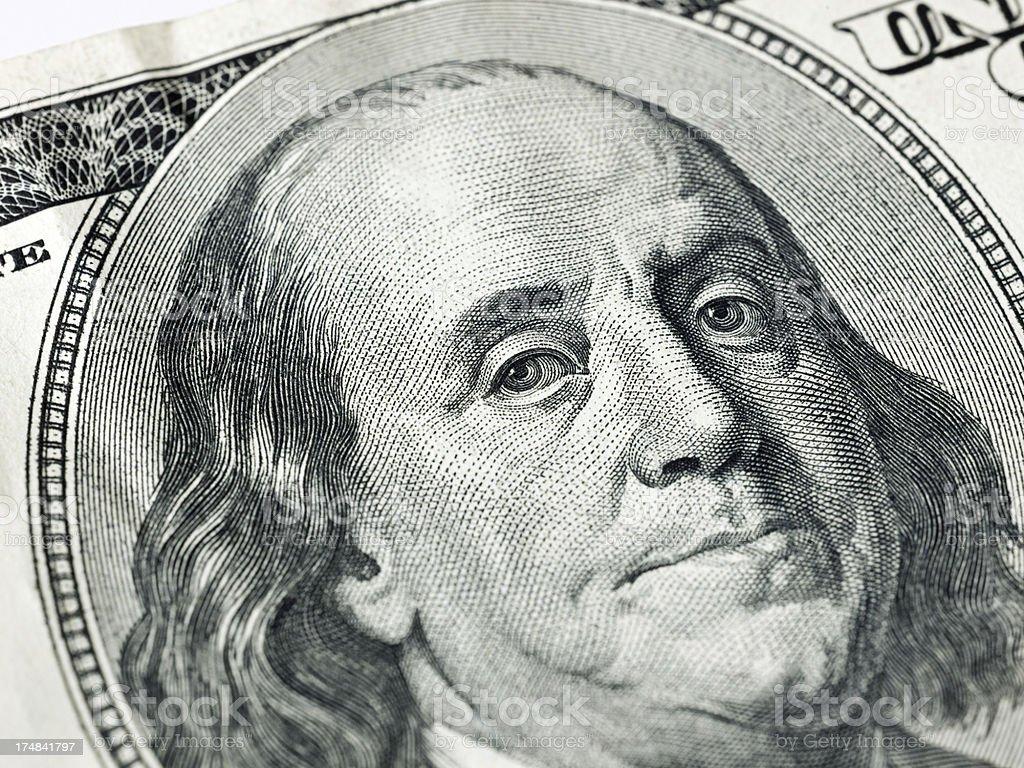 Benjamin Franklin on one hundred dollar bill royalty-free stock photo