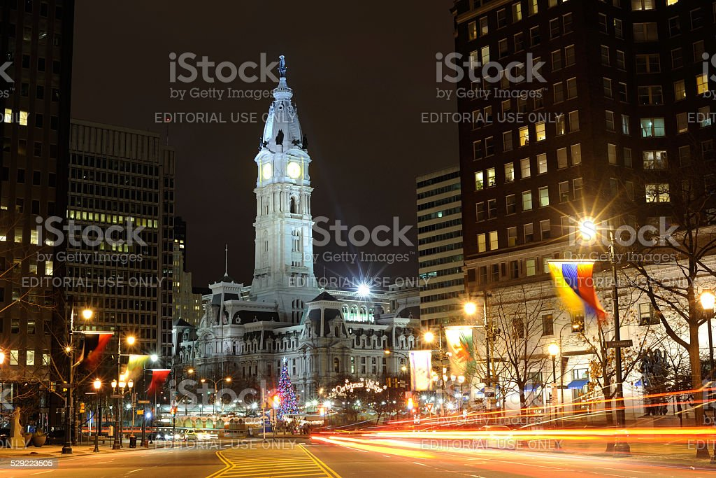 Benjamin Franklin Parkway in Philadelphia at Night stock photo