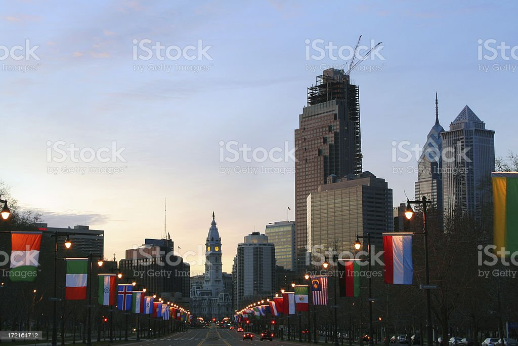 Benjamin Franklin parkway in Philadelphia at sunrise stock photo