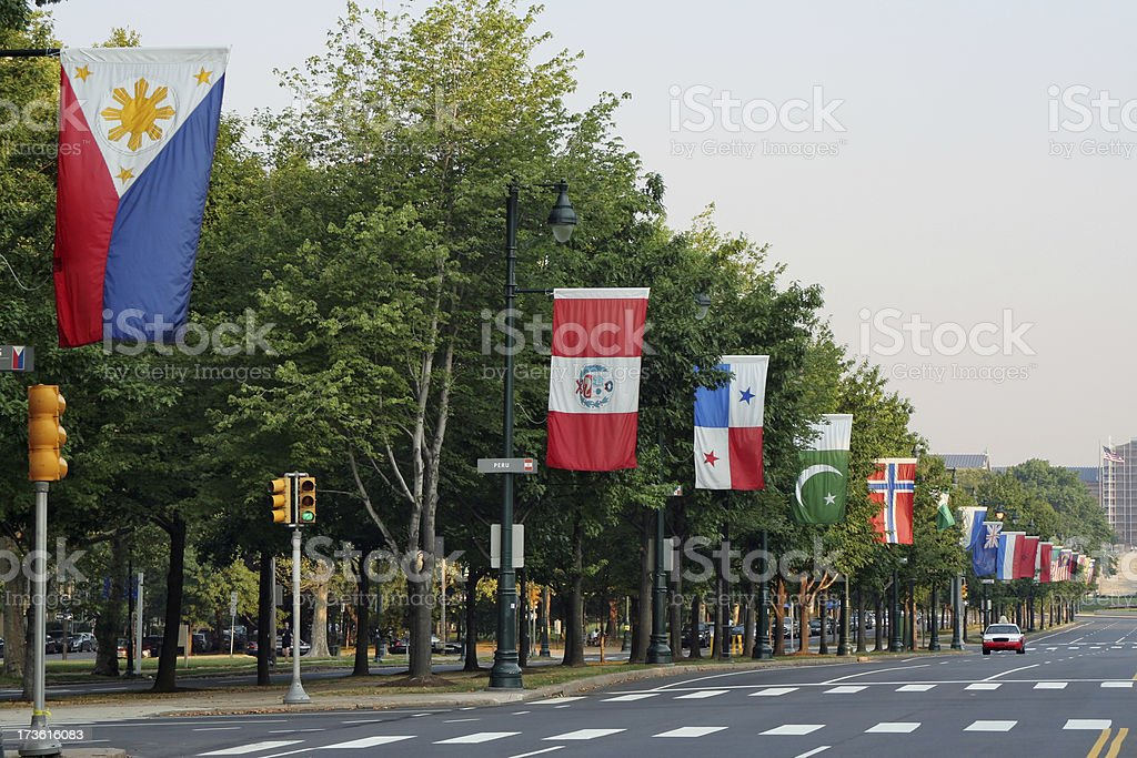 Benjamin Franklin Parkway in Philadelphia stock photo