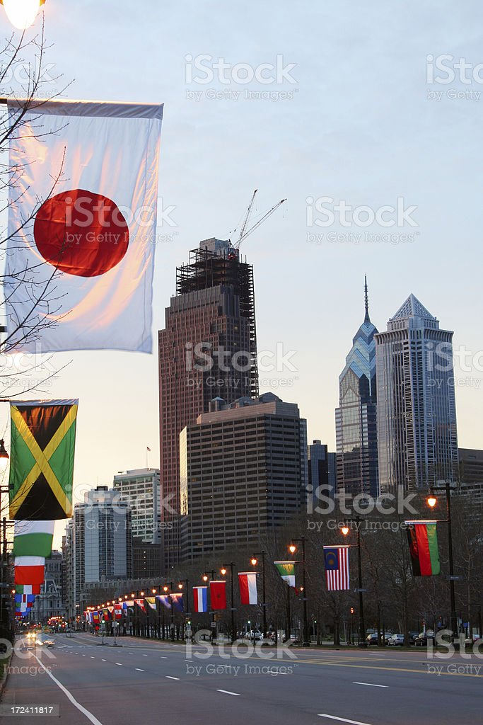 Benjamin Franklin Parkway in the early morning stock photo