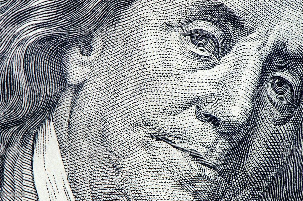 Benjamin Franklin portrait stock photo