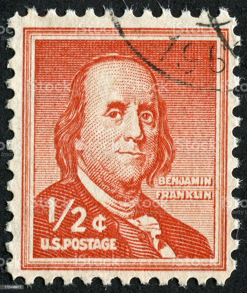 Benjamin Franklin Stamp stock photo