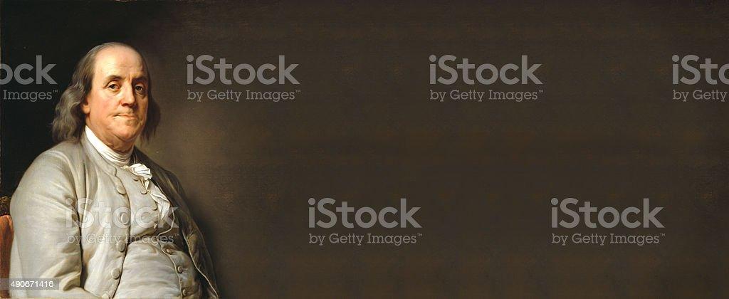 Benjamin Franklin with empty board stock photo