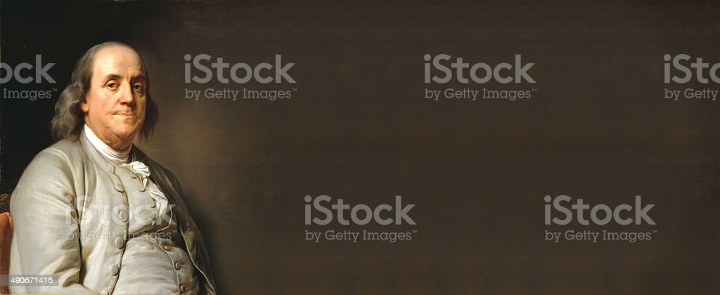 Benjamin Franklin with empty board stock photo