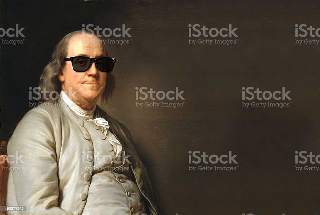 Benjamin Franklin with sun glasses stock photo
