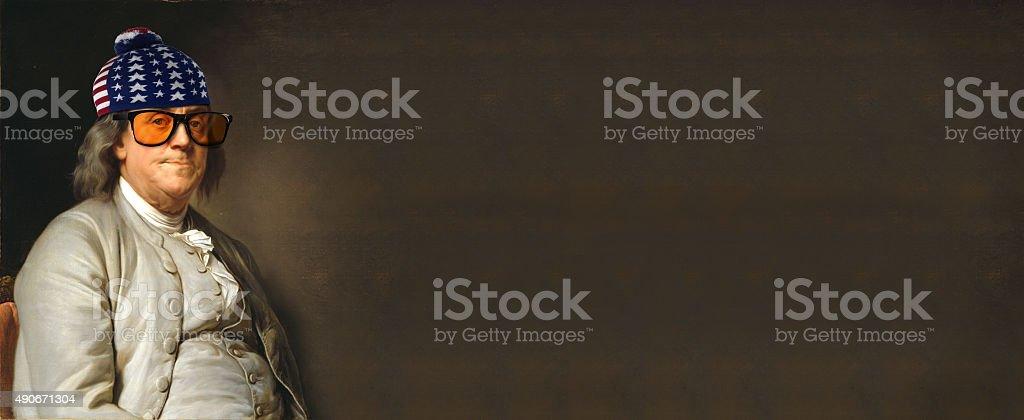 Benjamin Franklin with USA hat stock photo