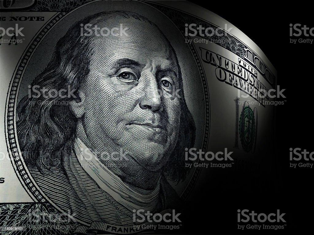 Benjamin Franklin's close up in a hundred dollar bill royalty-free stock photo