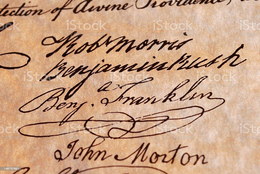 Benjamin  Franklin's Signature royalty-free stock photo