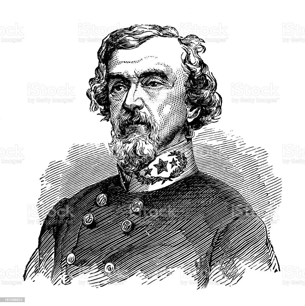 Benjamin Huger,General of the Confederate Army. stock photo