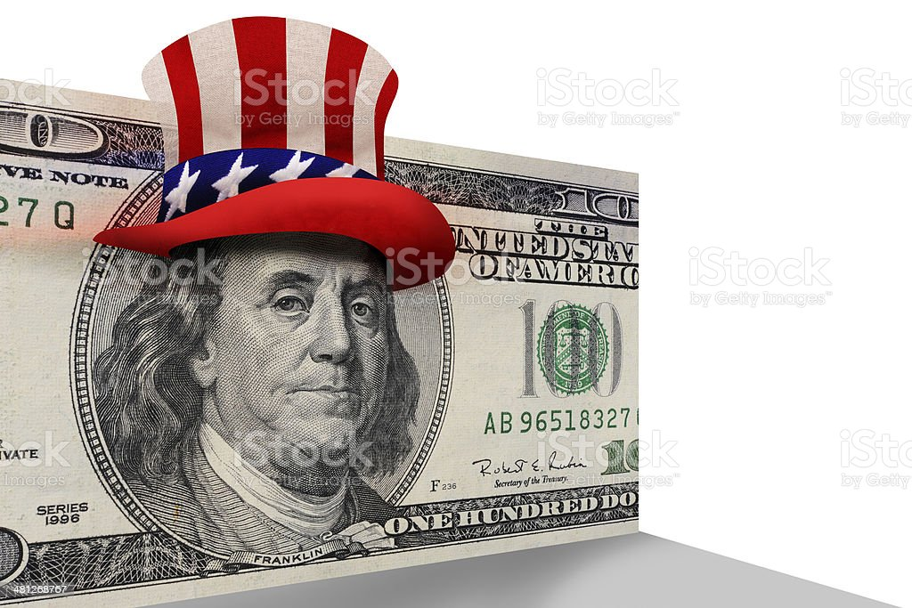 Benjamin with Uncle Sam Hat. stock photo