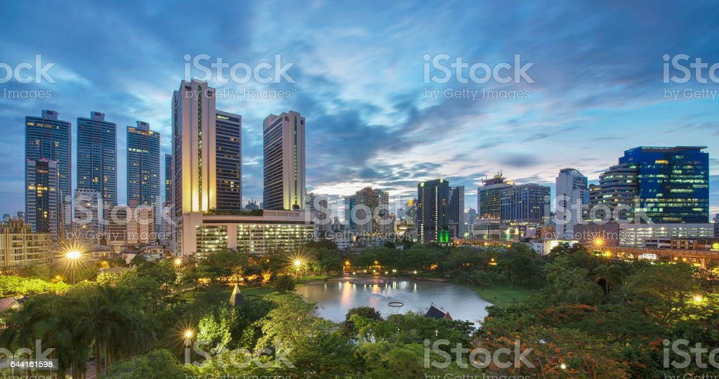 Benjasiri Park at sunset , Bangkok, Thailand stock photo