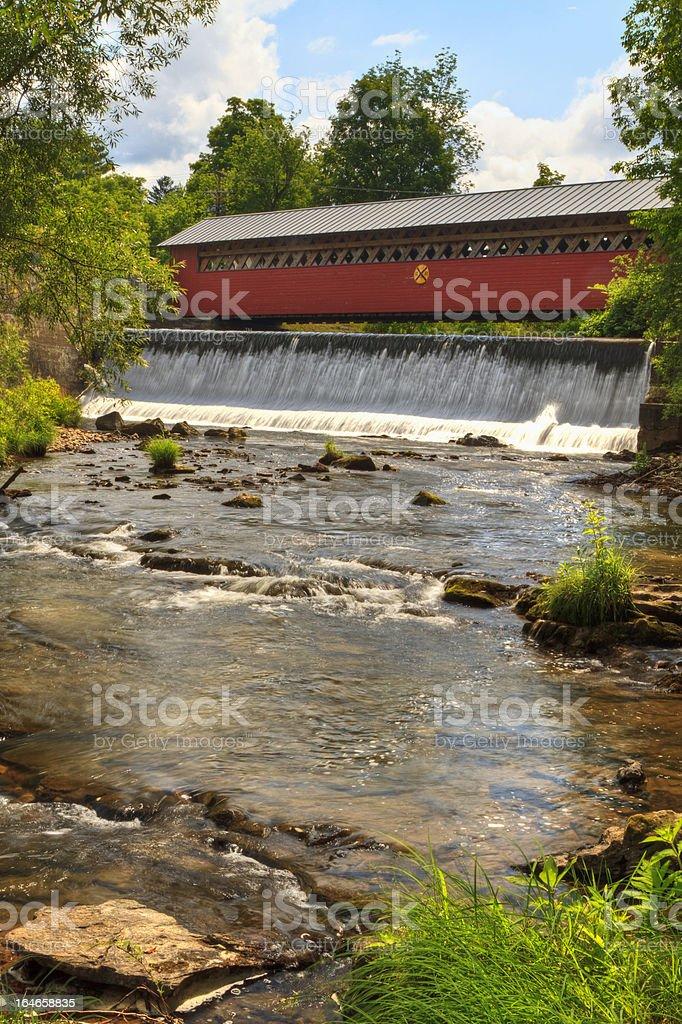 Bennington Covered Bridge and Waterfall royalty-free stock photo