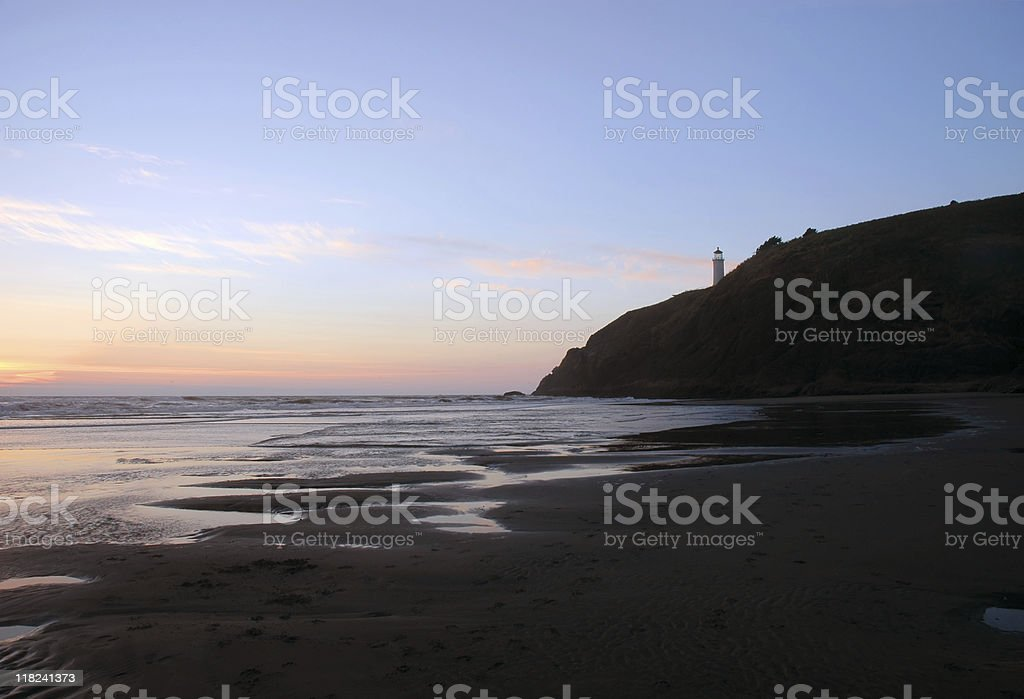 Benson beach and North Head lighthouse stock photo