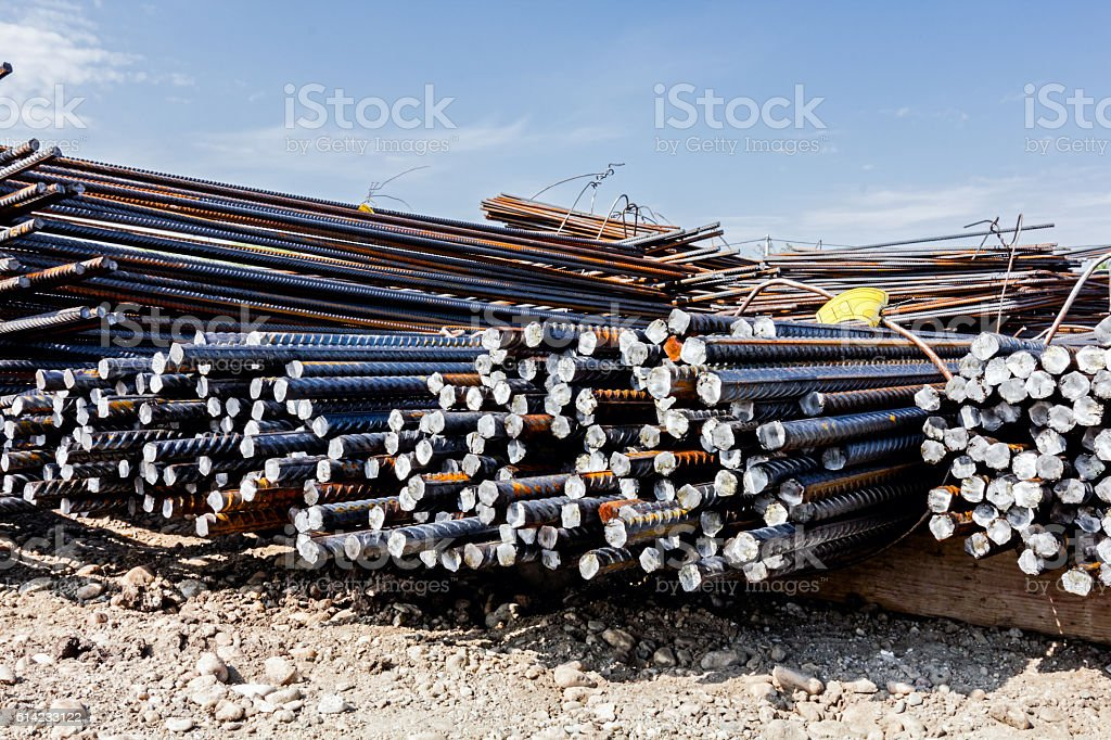 Bent and bundled for construction. Selected according to shape a stock photo