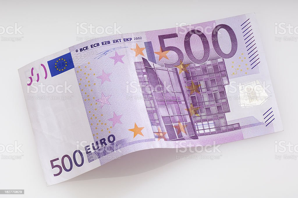 Bent fivehundret Euro banknote stock photo