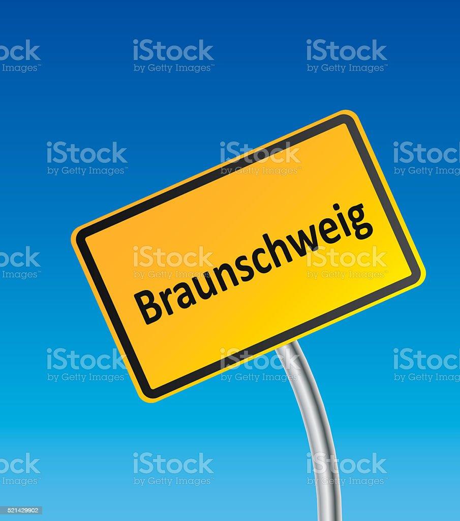 Bent German City Sign of Braunschweig stock photo