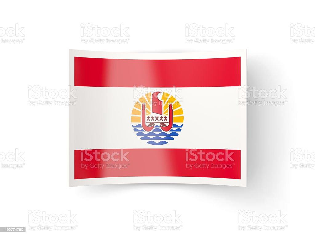 Bent icon with flag of french polynesia stock photo