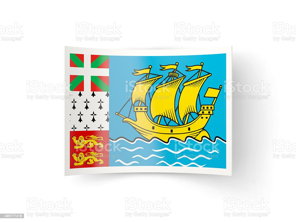 Bent icon with flag of saint pierre and miquelon stock photo