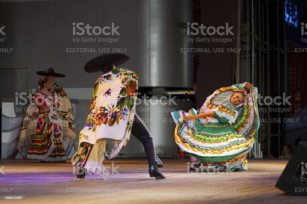 Bent Mexican Traditional Jalisco Dancer Green royalty-free stock photo