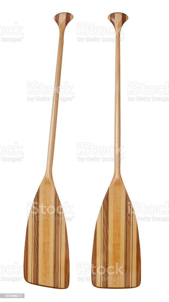 bent shaft wood  canoe paddle stock photo