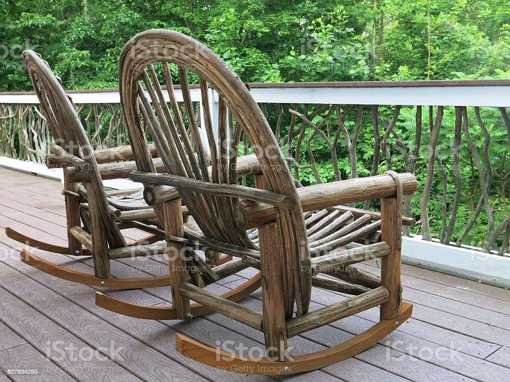 Bent Twigs, Sticks, Folk Americana Rustic Adirondack Rocking Chair Furniture stock photo