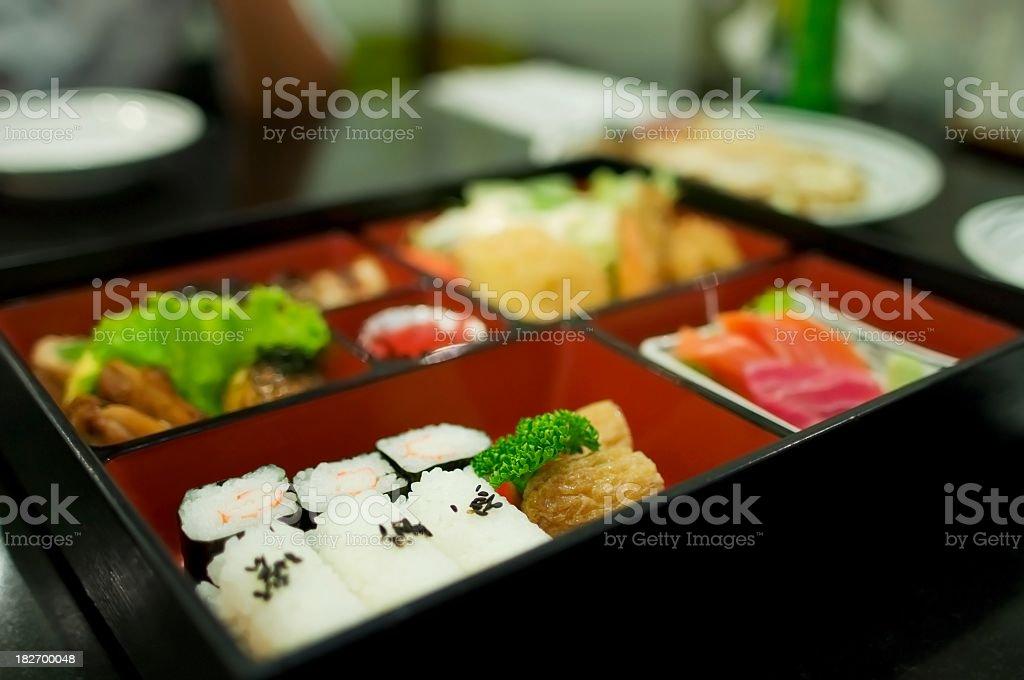 A bento box full of various kinds of sushi tempura of Japan stock photo