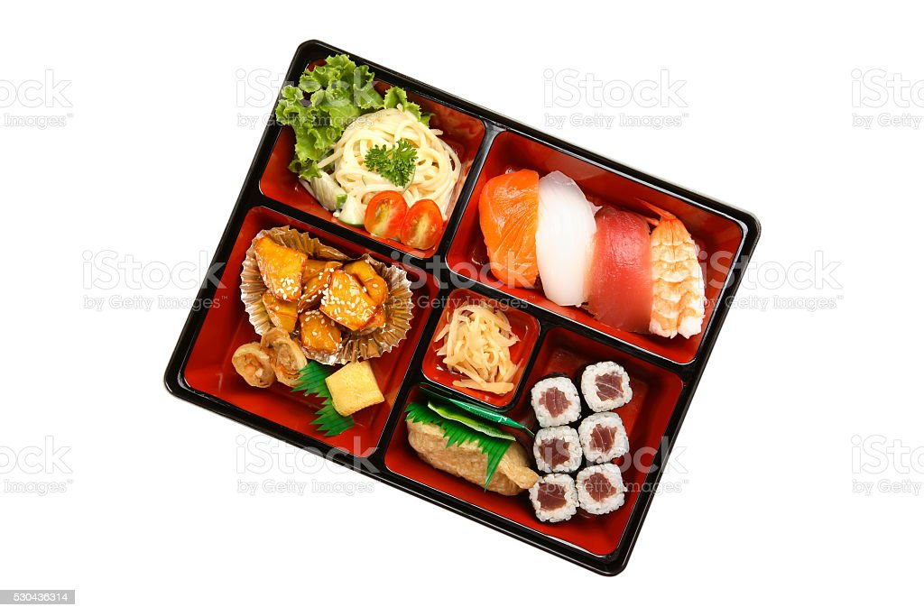 Bento box with sushi stock photo
