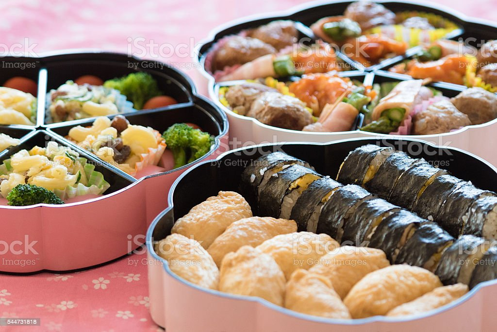 bento (Japanese lunch box) , Inari Sushi  and Norimaki stock photo