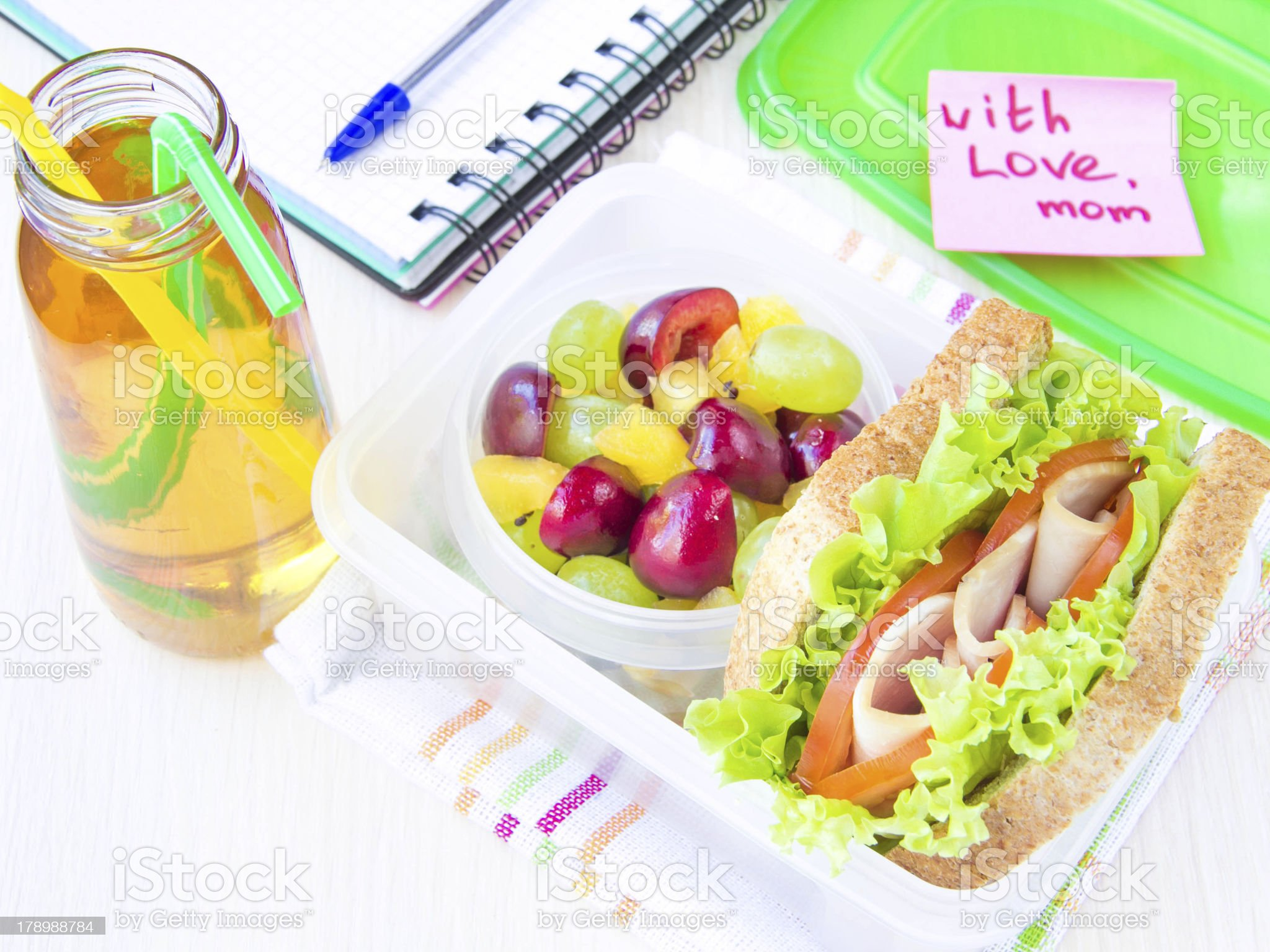 Bento lunch child in school, box with sandwich and fruit royalty-free stock photo