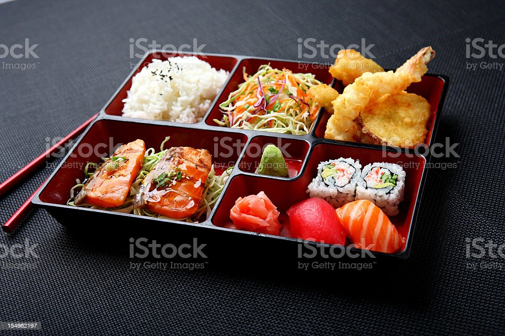 Bento - Salmon & Sushi stock photo