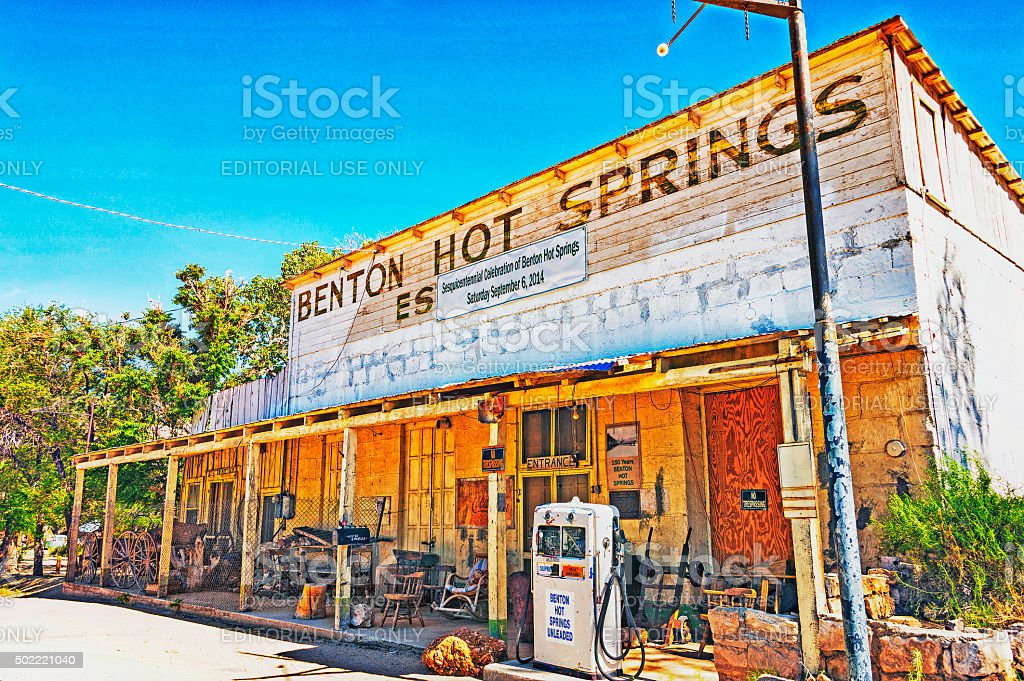 Benton Hot Springs inoperative gas pumps items of the past stock photo