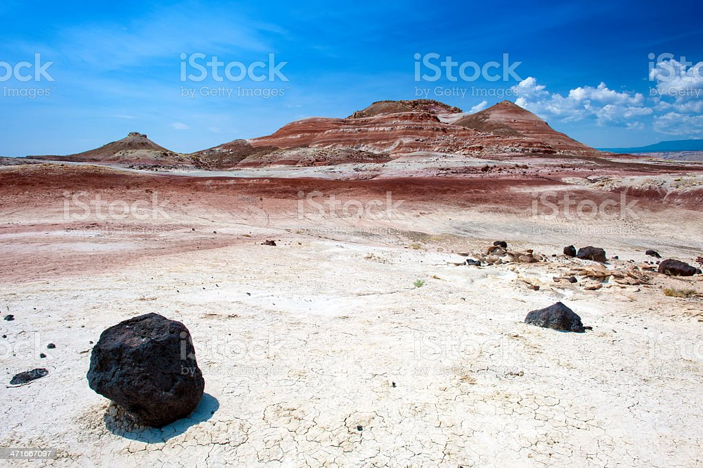 Bentonite Hills with Lava Rocks royalty-free stock photo
