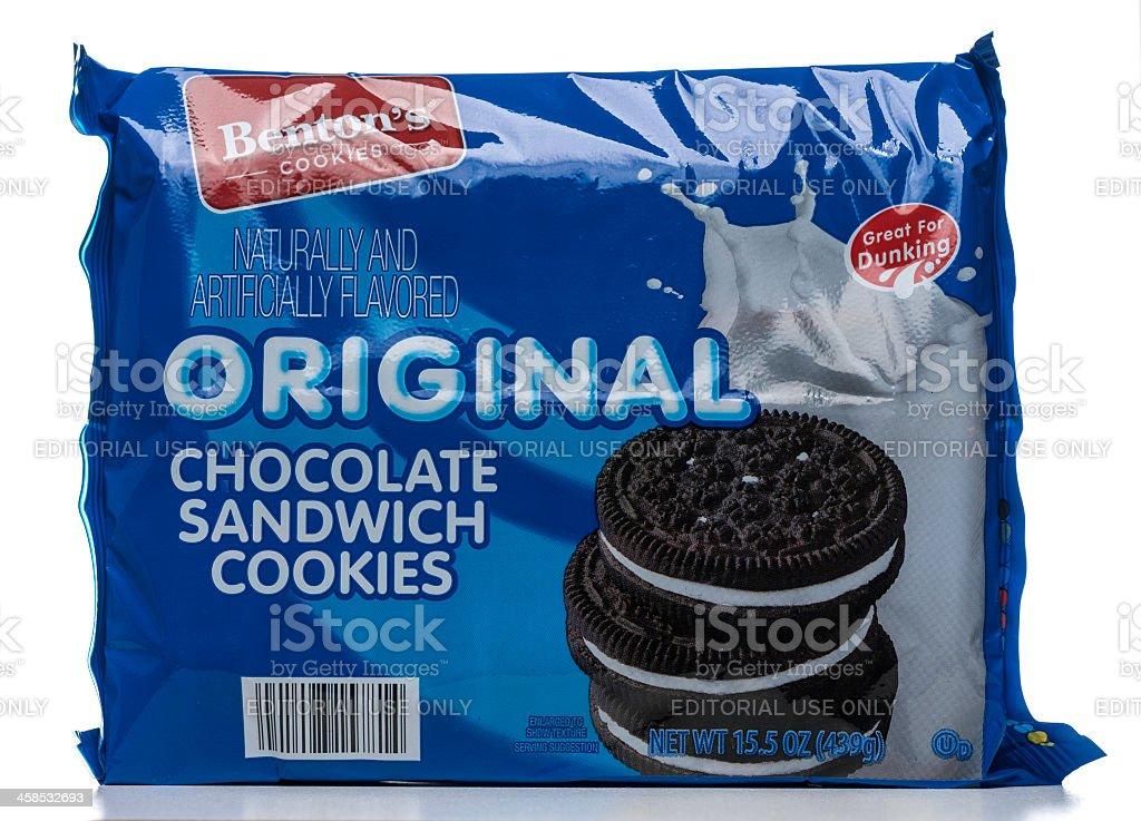 Benton's original chocolate sandwich cookies package royalty-free stock photo