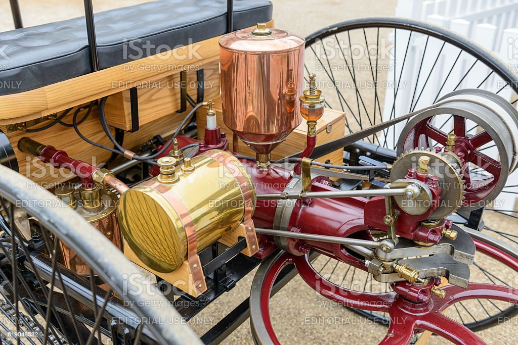 Benz Patent Motor-wagen engine 1886 the world's first automobile stock photo