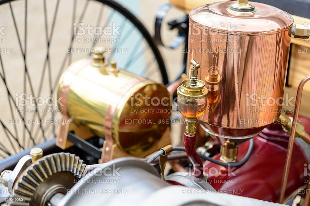 Benz Patent Motor-wagen engine detail 1886 the world's first automobile stock photo