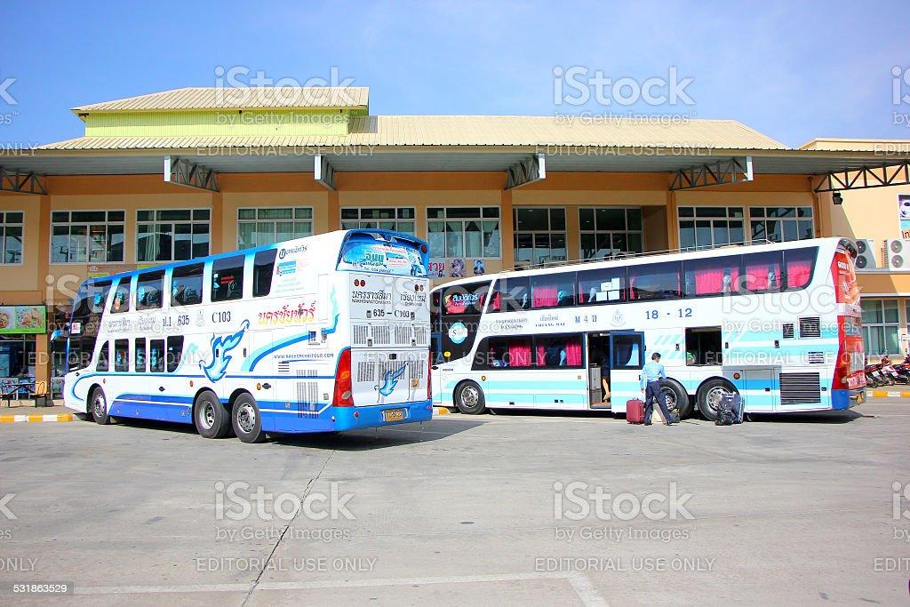 Benze bus no.635-C103 Double deck of Nakhonchai tour stock photo