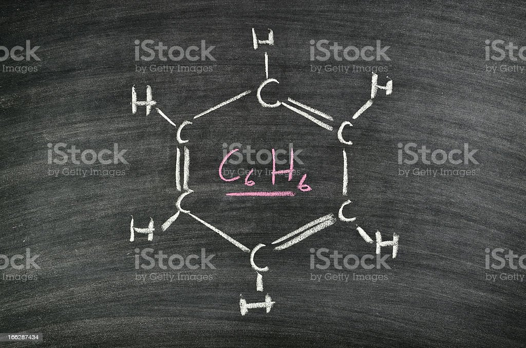 Benzene, aromatic hydrocarbon royalty-free stock photo