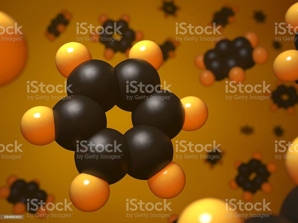 Benzene molecular structure. stock photo