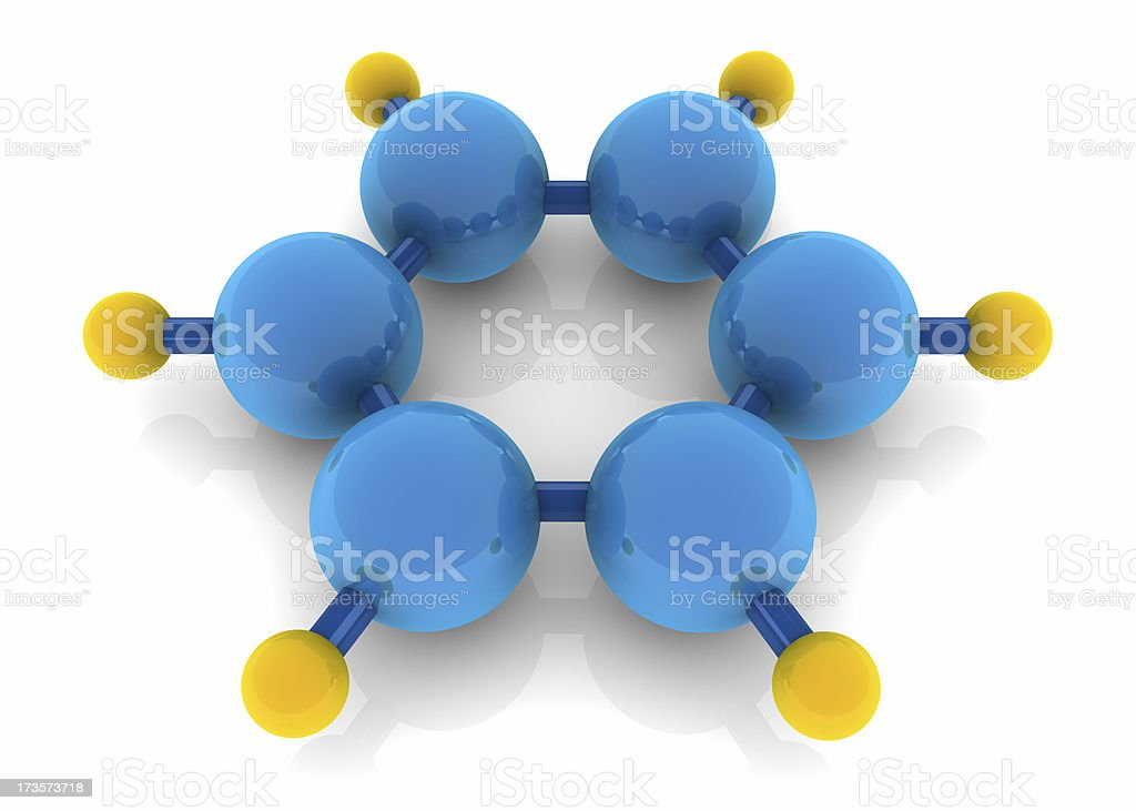 Benzene molecule royalty-free stock photo