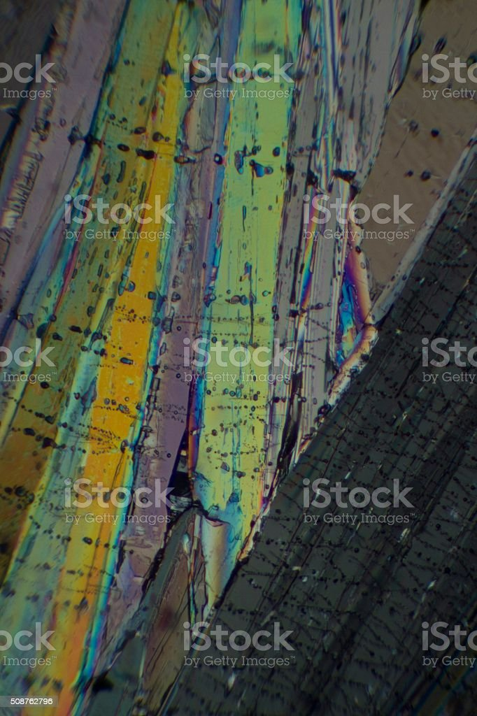 Benzoic acid under the microscope stock photo