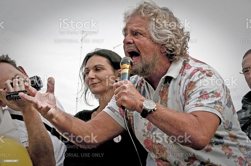 Beppe Grillo, during an election rally royalty-free stock photo