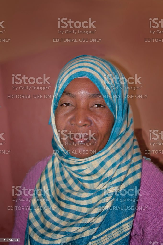 Berber Cleaning Woman Posing for Camera stock photo