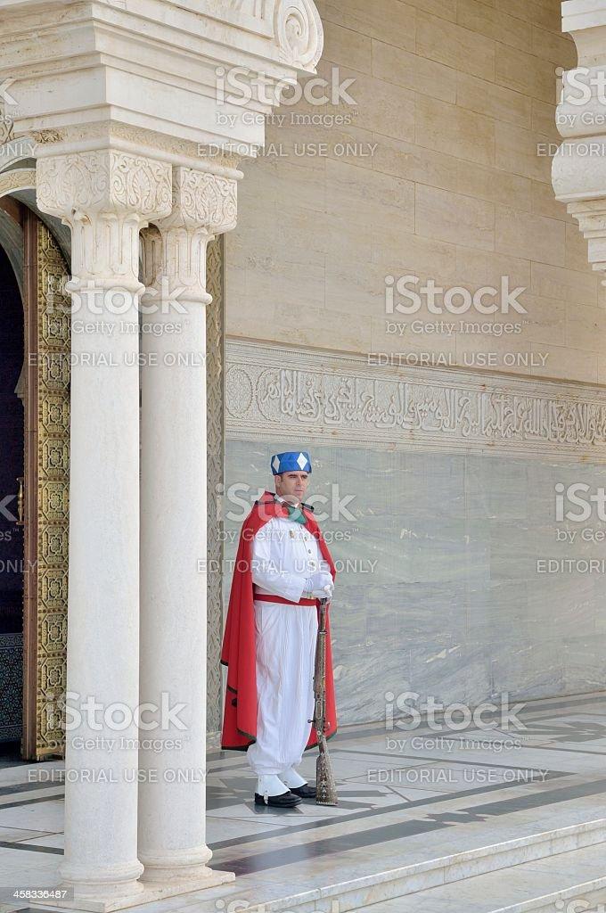 Berber Guard At King Hassan II Mausolleum stock photo