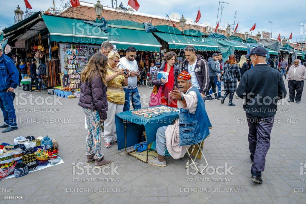 Berber market in the souks of Marrakech, Morocco stock photo
