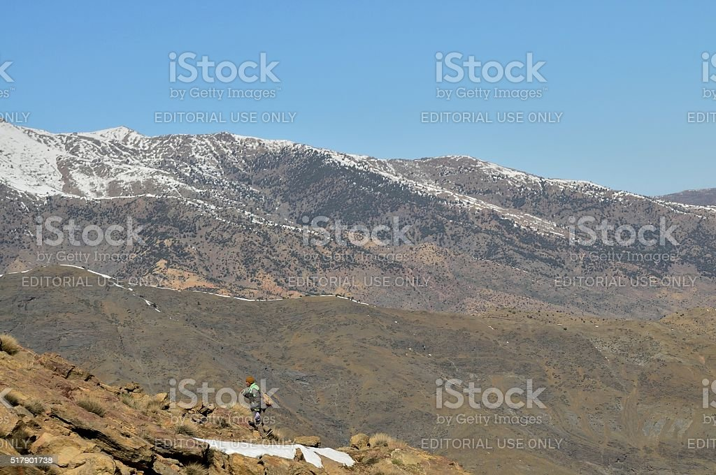 Berber Shepherd in Atlas Mountains stock photo