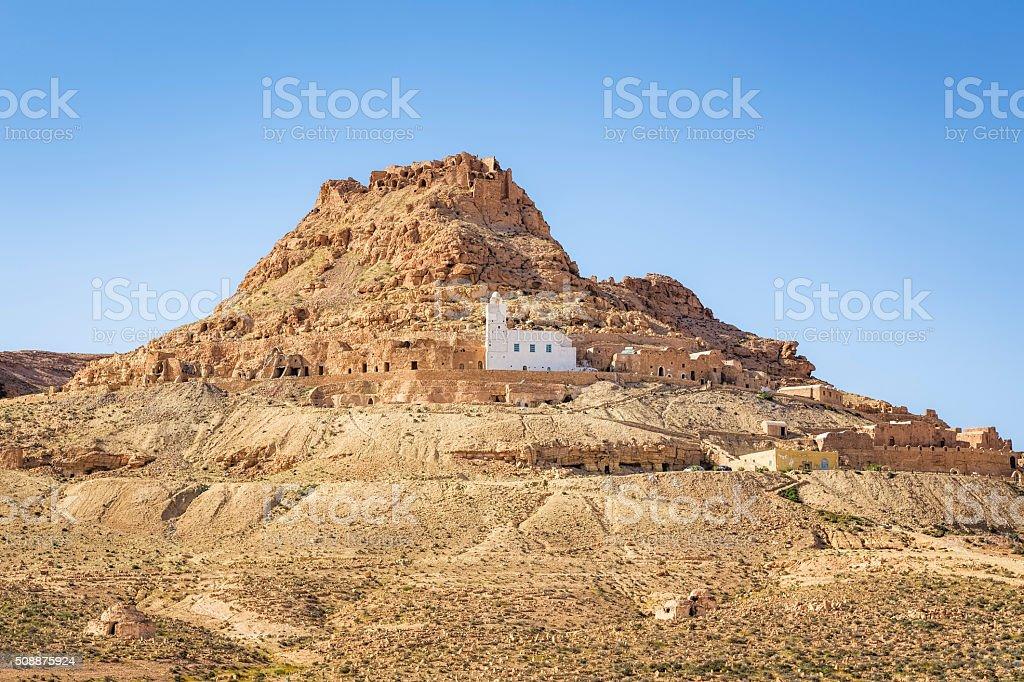 Berber village Douiret in the Tataouine district in southern Tunisia stock photo