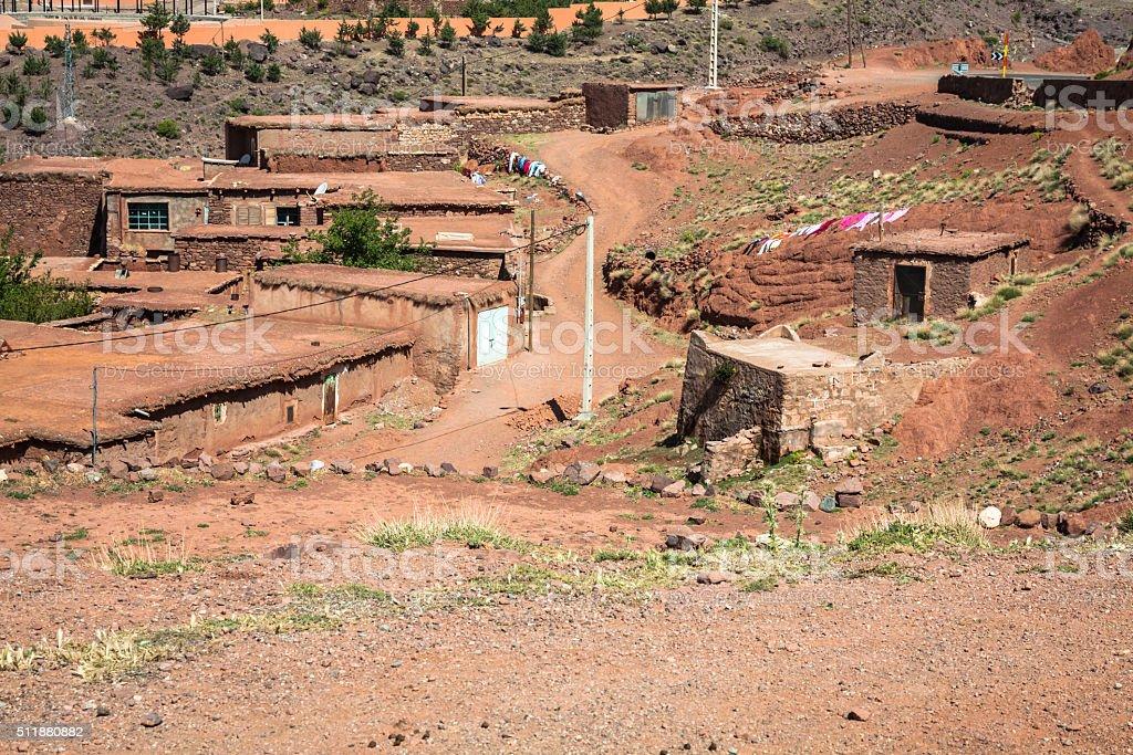 Berber village in Atlas mountains,Morocco stock photo