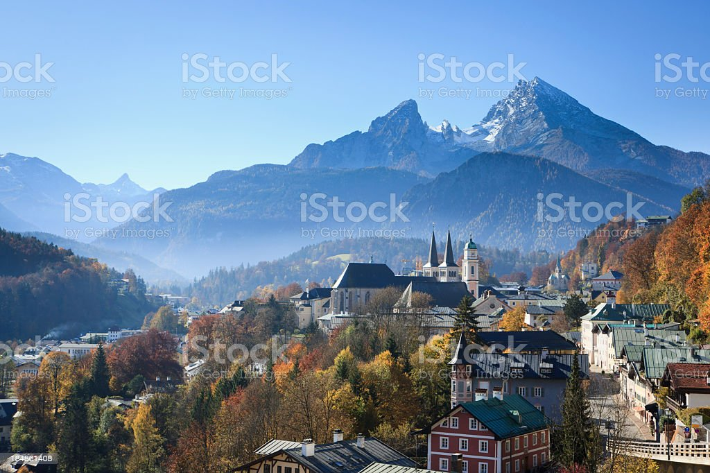 Berchtesgaden and Watzmann Mountains stock photo