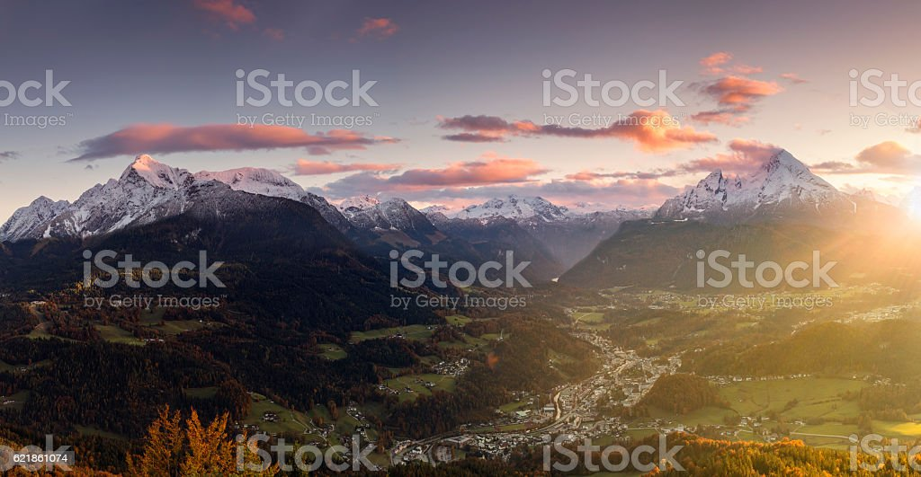 Berchtesgaden with Watzmann at Sunrise in Autumn - Panorama stock photo